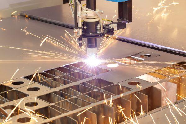 Plasma cutting metalwork industry machine with sparks